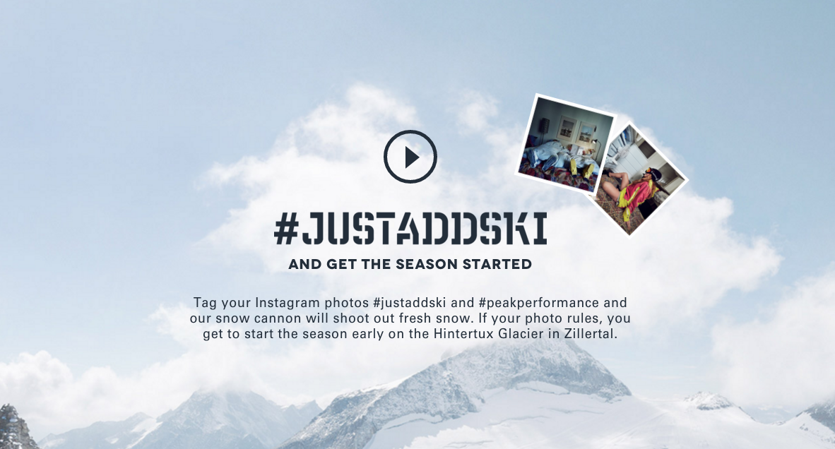 Screenshot von Kampagnenwebsite zu #justaddski by Peak Performance
