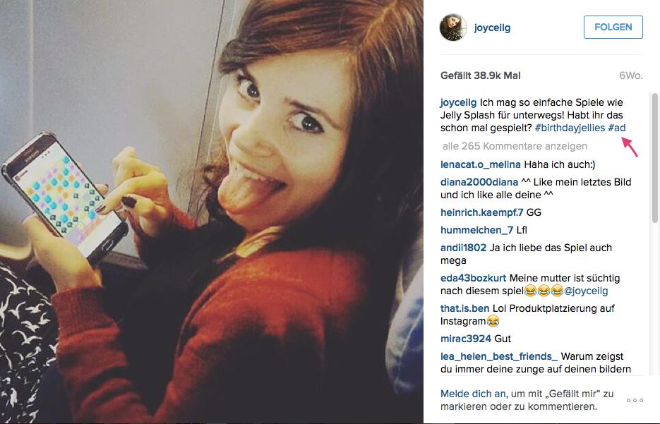 Instagram Post_mit kleiner aber ausreichender Kennzeichnung als Anzeige