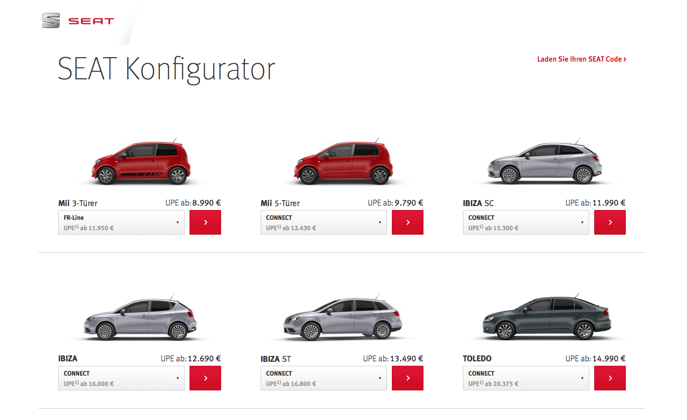 Screenshot: Seat Konfigurators