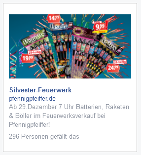 Facebook Ad Silvesteraktion 2014