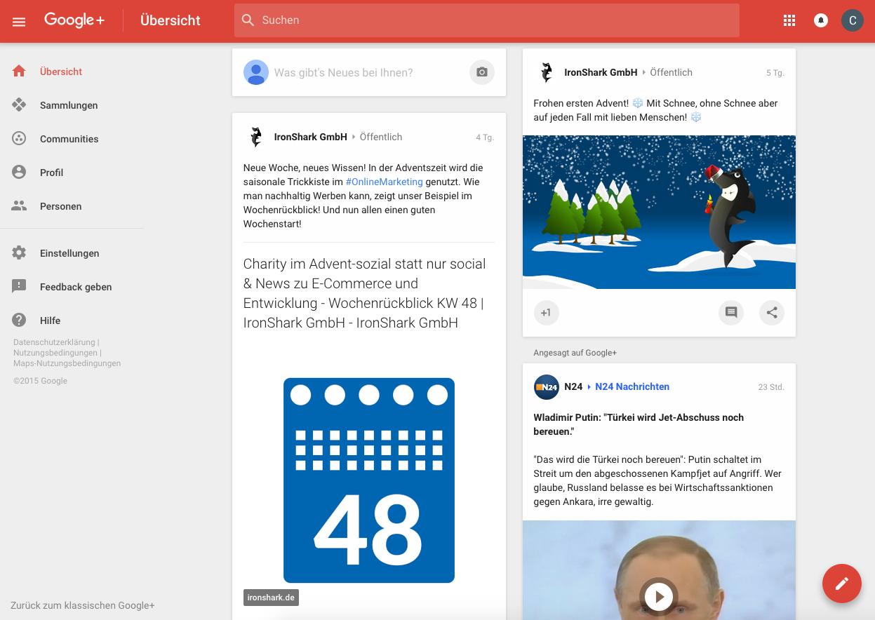 Ansicht Google Plus Übersicht