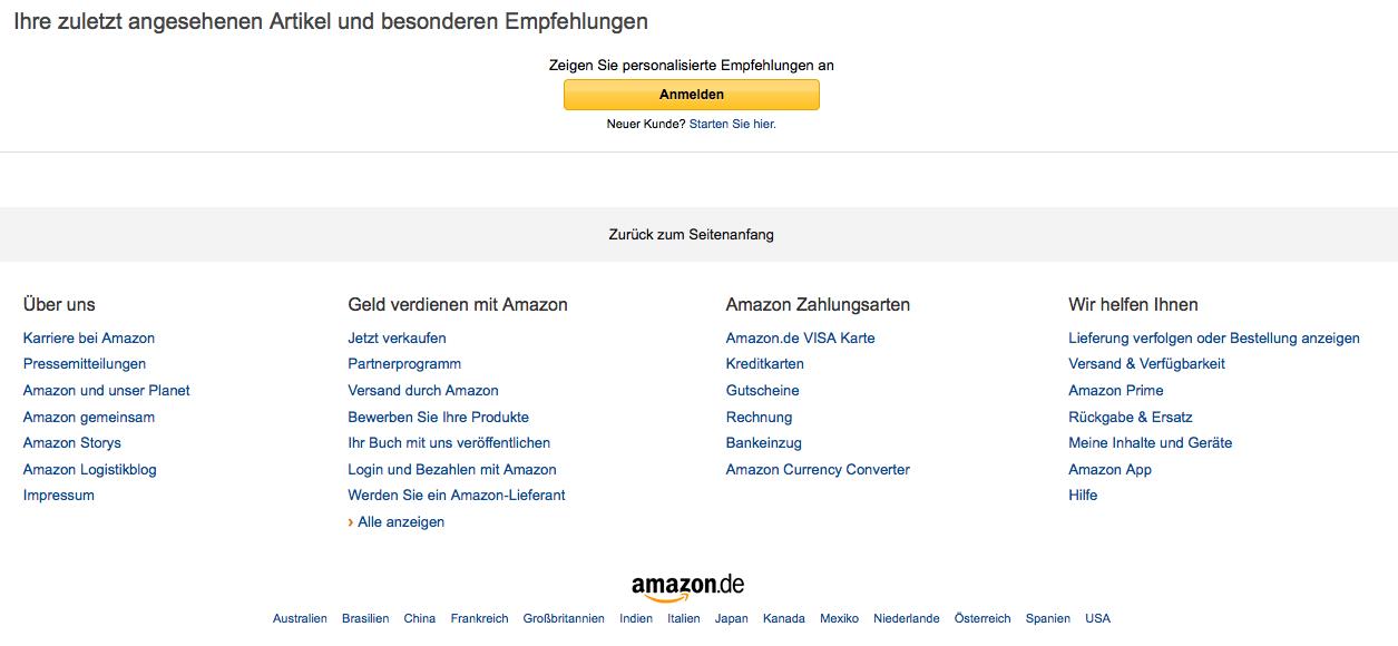 Amazon als Beispiel für CTA