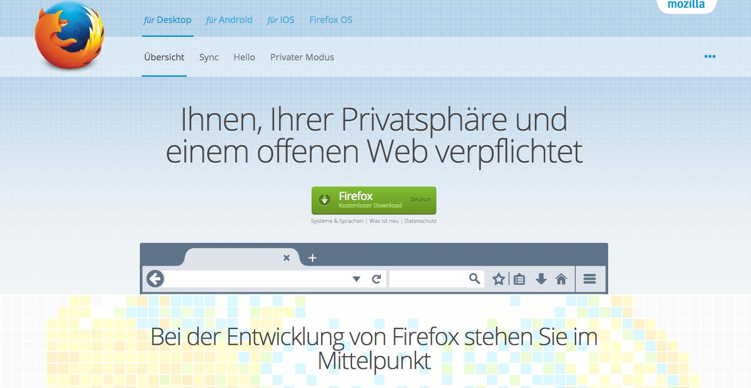 Mozillas Firefox als Beispiel für CTA
