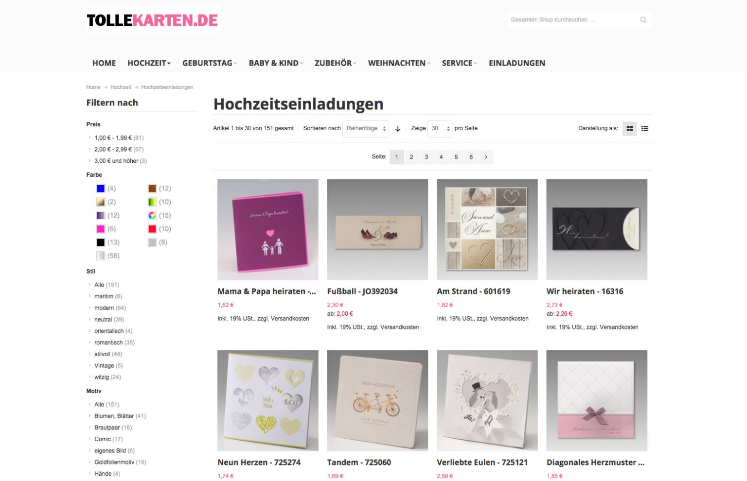 Angebot Webshop Magento User Interface UX Design TolleKarten