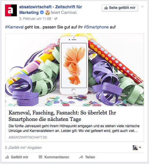 Marketing Karneval Nachrichten Social Media Beispiel