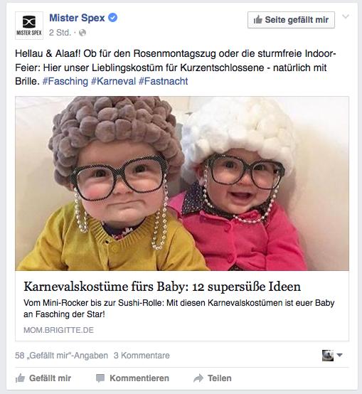 Mr Spexx Karneval Beispiel Social Media Marketing