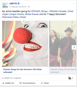 ampya Karnevalv Beispiel Social Media Marketing