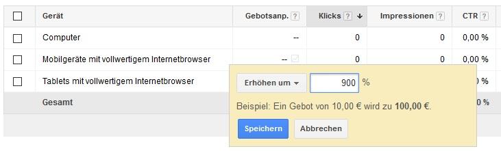 Screenshot des AdWords-Interfaces, der die Gebotsanpassung zeigt