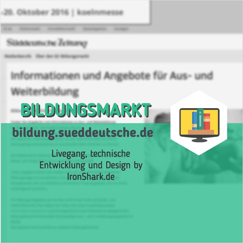 Beitragsbild Livegang Bildungsmarkt Sueddeutsche Relaunch WordPress Basis technische Entwicklung und Designanpassung IronShark