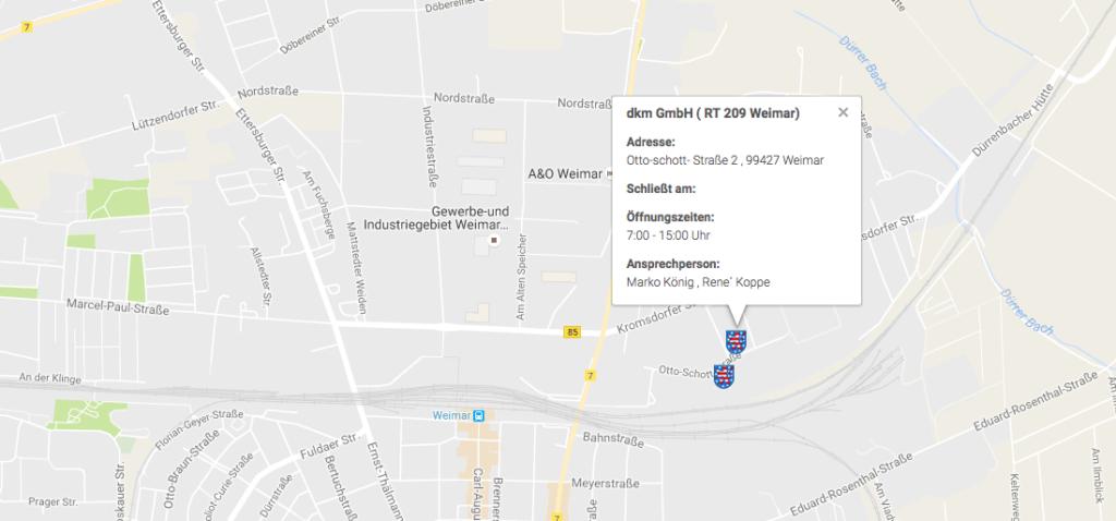 Sammelstelle des Weihnachtspäckchenkonvois Thüringen MapsAusschnitt