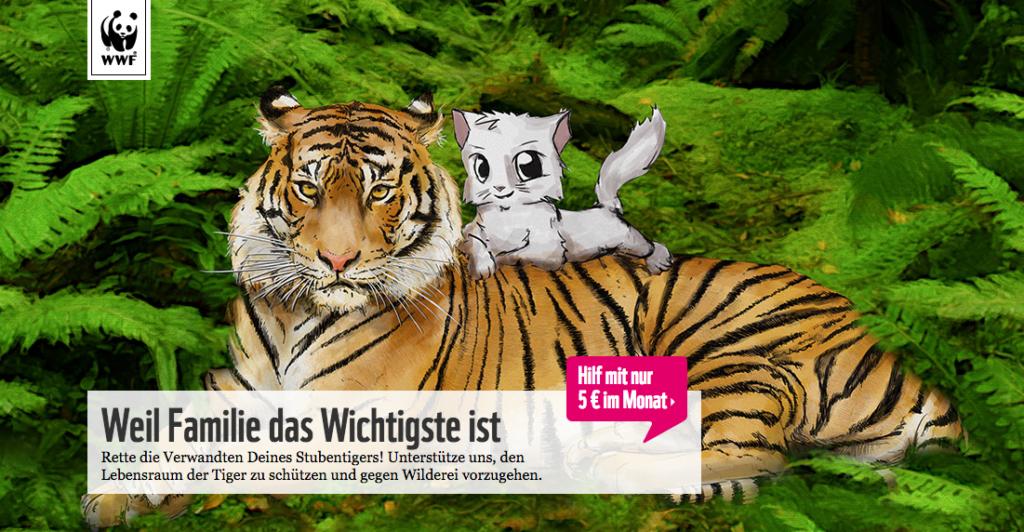 WWF wirbt mit der niedlichen Katze fuer den Tiger