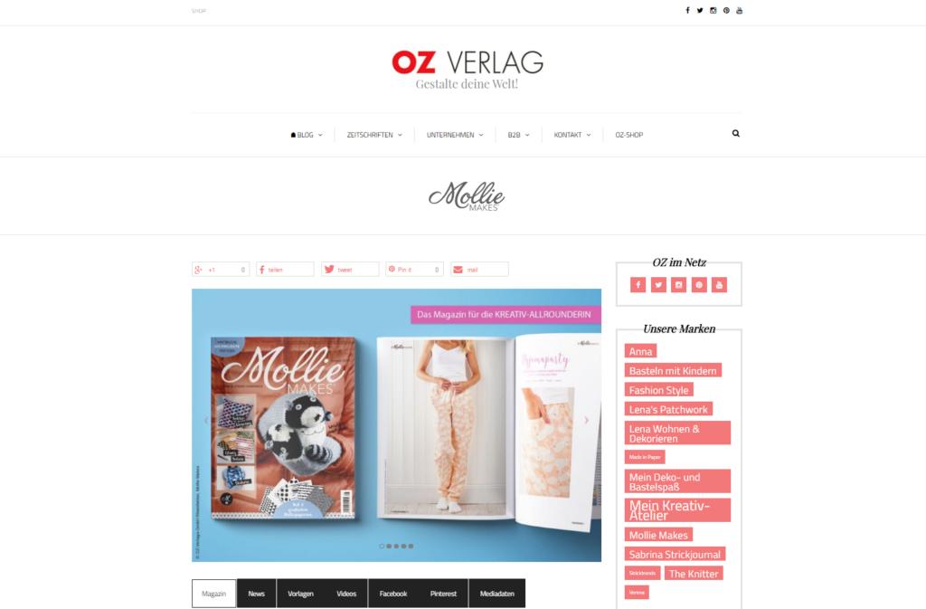 Seitentyp Zeitschrift der Website OZ Verlag