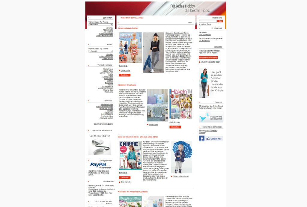 Startseite des OZ Verlags Shop - angebunden an die neue Website