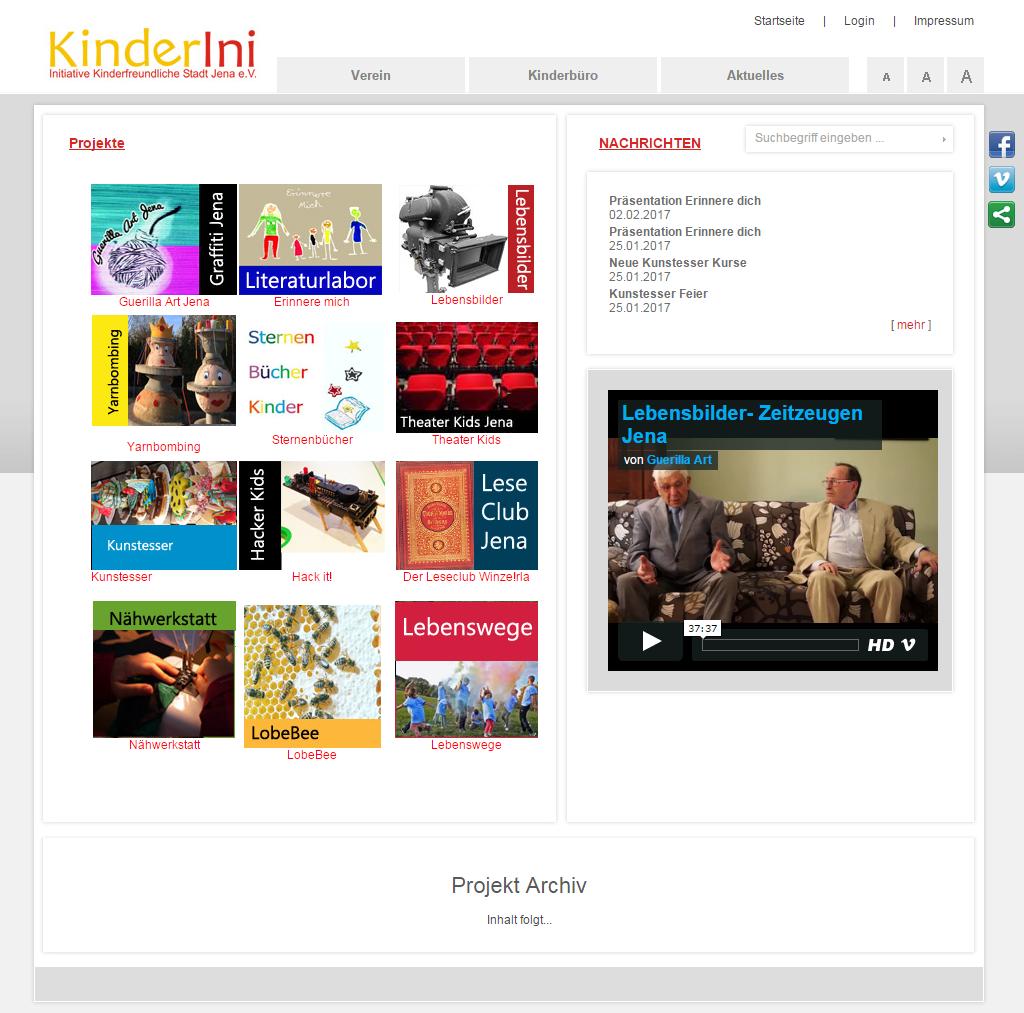 Startseite der aktuellen Website KinderIni