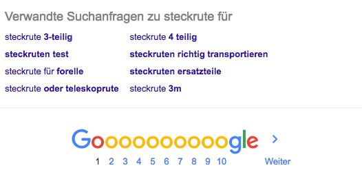 Google AutoSuggest unter den Suchanfragen