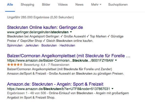 Google Suche für erste Recherche
