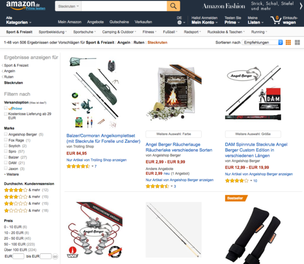 Amazon bietet andere Chancenkeywords