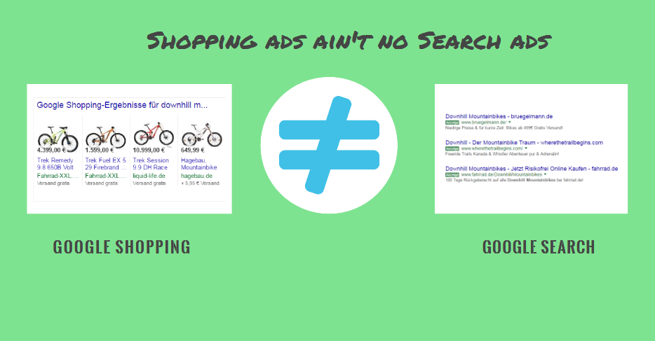 Shoppings Ads ungleich Search Ads