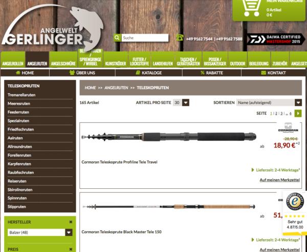 Beispiel für eine View All Seite der Produkte auf gerlinger.de
