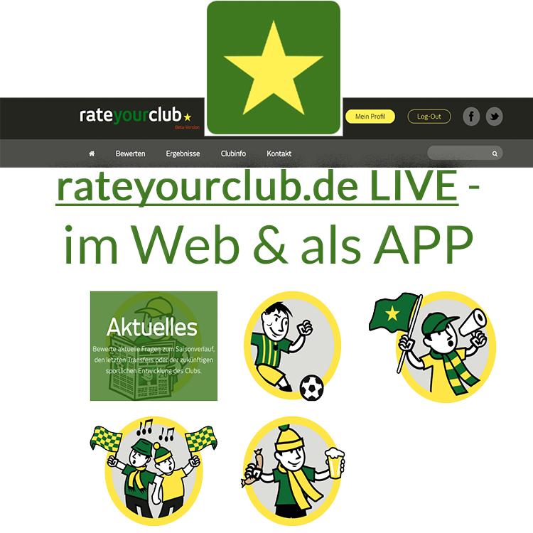 Livegang rateyourclub Webportal App Android Wordpress