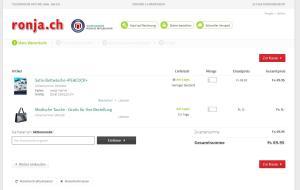 Screenshot des neuen Warenkorbs