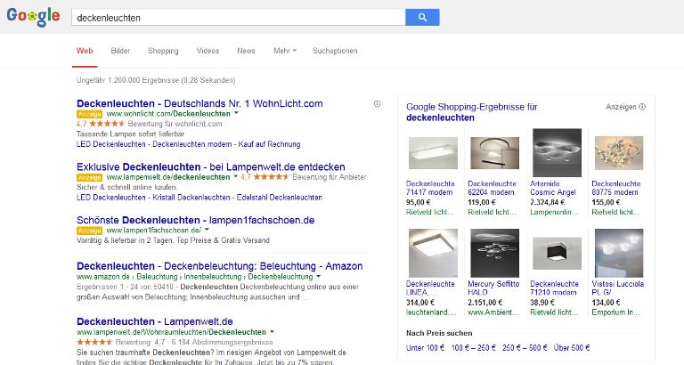Google-Shopping-Anzeige mit dem Suchbegriff Deckenleuchten