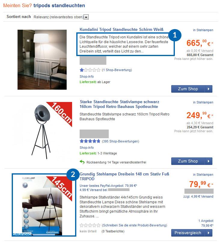 User Interface der Preissuchmaschine Billiger.de mit den Suchergebnissen von Standleuchte