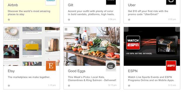 Ansicht des Gmail Postfachs als Bildergalerie