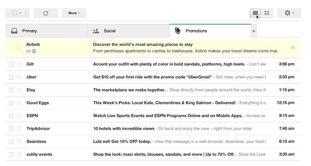 Ansicht des Gmail Postfachs als Listenansicht