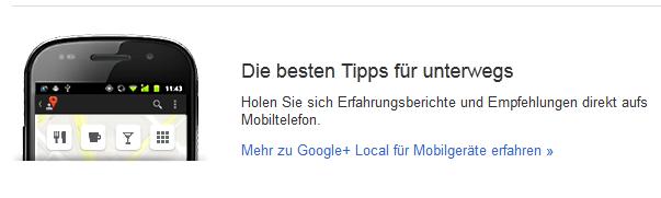 Google + Local - auch mobil anwendbar
