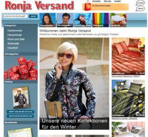 Screenshot der alten Startseite auf ronja.ch