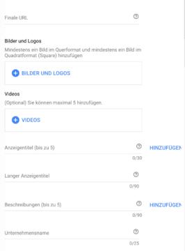 Felder zum Einfügen von Bildern, Videos und Überschriften zur Erstellung einer Responsive Displayanzeige
