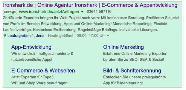 IronShark Erweiterte Textanzeigen mit Anzeigenerweiterungen