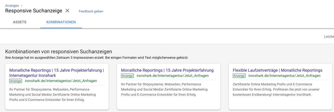 Kombinationen von Responsiven Google Ads