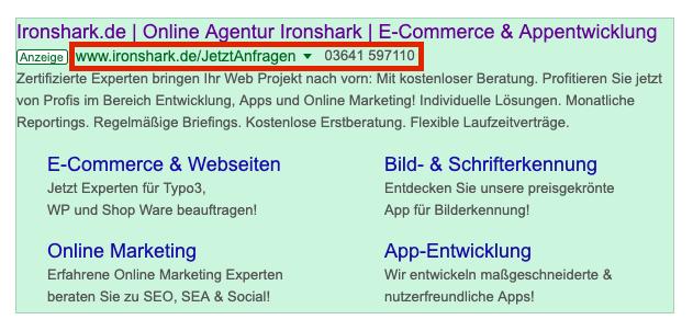 Google Ads Anzeige mit markiertem Bereich für Pfad 1 und Pfad 2