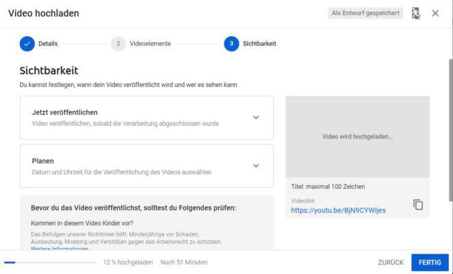 Sichtbarkeit beim Hochladen von YouTube Videos einstellen