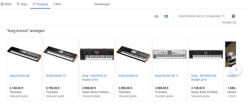 "Google Shopping Anzeigen über den Tab ""Shopping"""