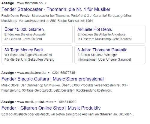 Beispiel für eine Suchnetzwerk Anzeige bei Google