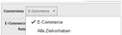 Zielvorhaben für Umsatztracking bei E-Commerce Shops