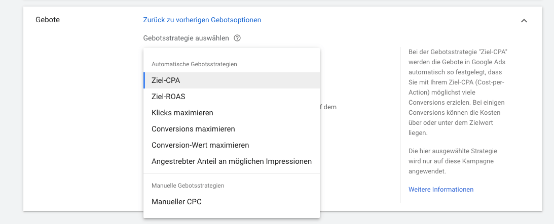 Gebotsstrategien in Google Ads festlegen.