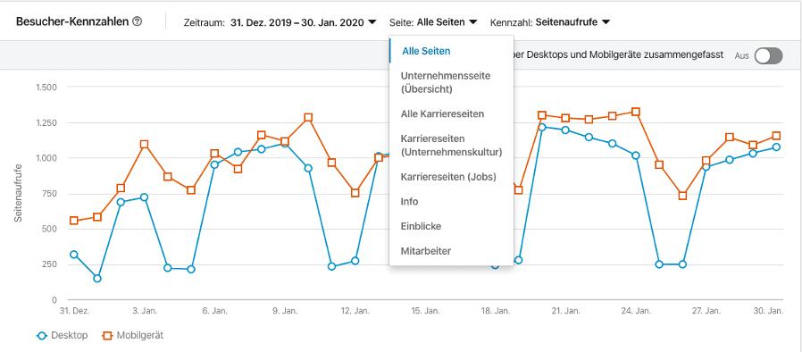 Besucherzahlen auf LinkedIn auswerten