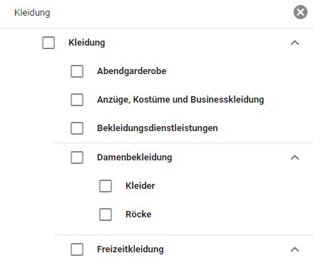 Beispiel für die Themenauswahl im Displaynetzwerk