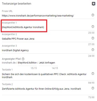 Beispiel für eine Keyword Insertion im Suchnetzwerk