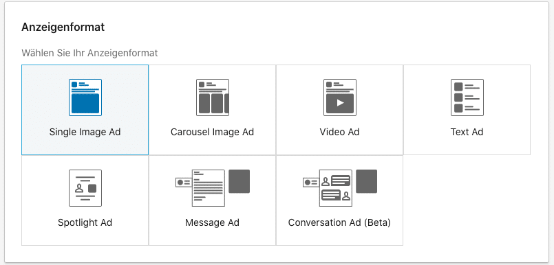 LinkedIn Ads Formate für Anzeigen