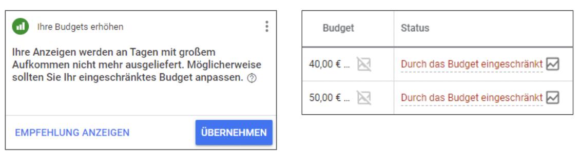 Google Ads Tagesbudget anpassen