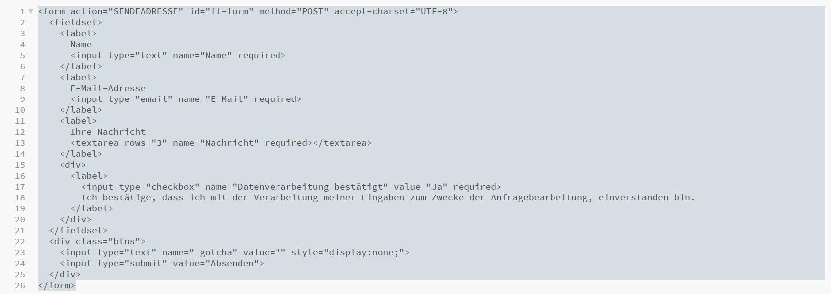 Kontaktformular HTML Code.