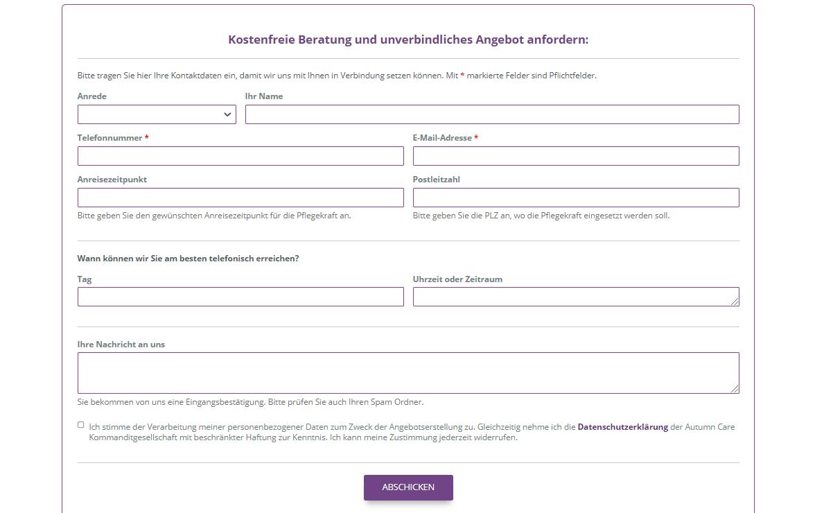 WordPress Formular eingebunden auf Webseite.