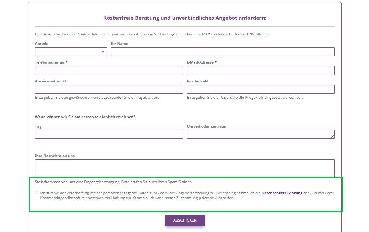 Beispiel Wordpress Kontaktformular datenschutzkonform mit Checkbox.