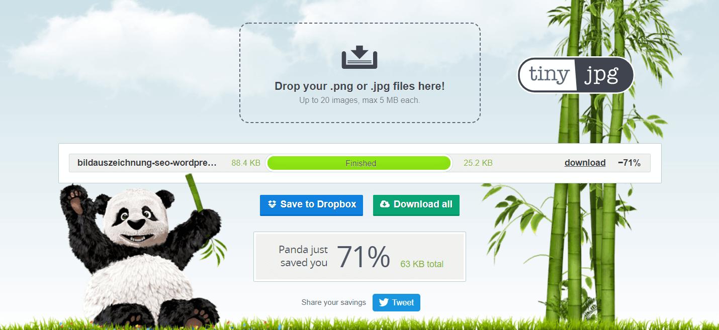 Screenshot eones Tools für Usability und Bilder SEO.