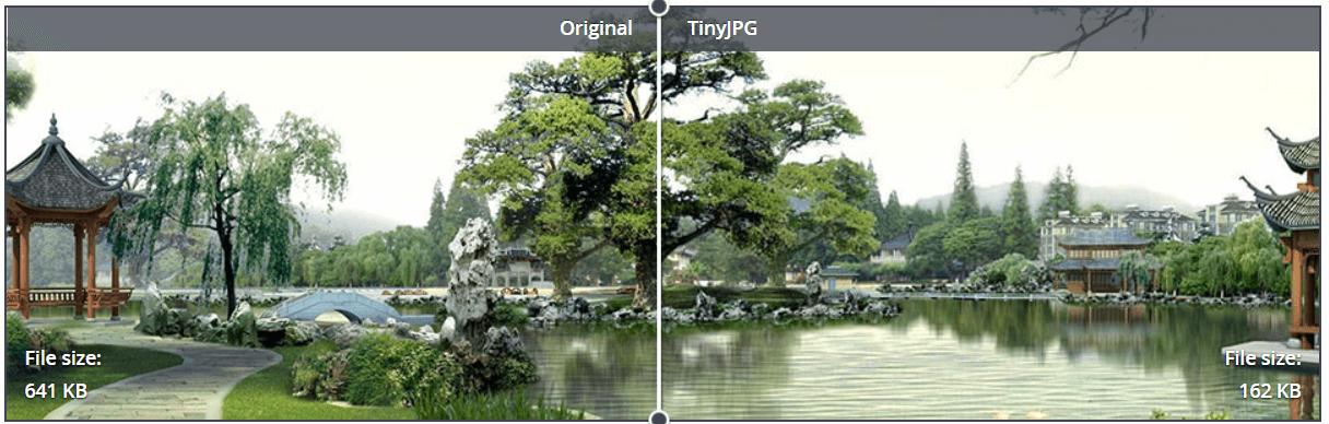 Gegenüberstellung einer Landschaftsaufnahme nach einer Bildoptimierung für SEO.